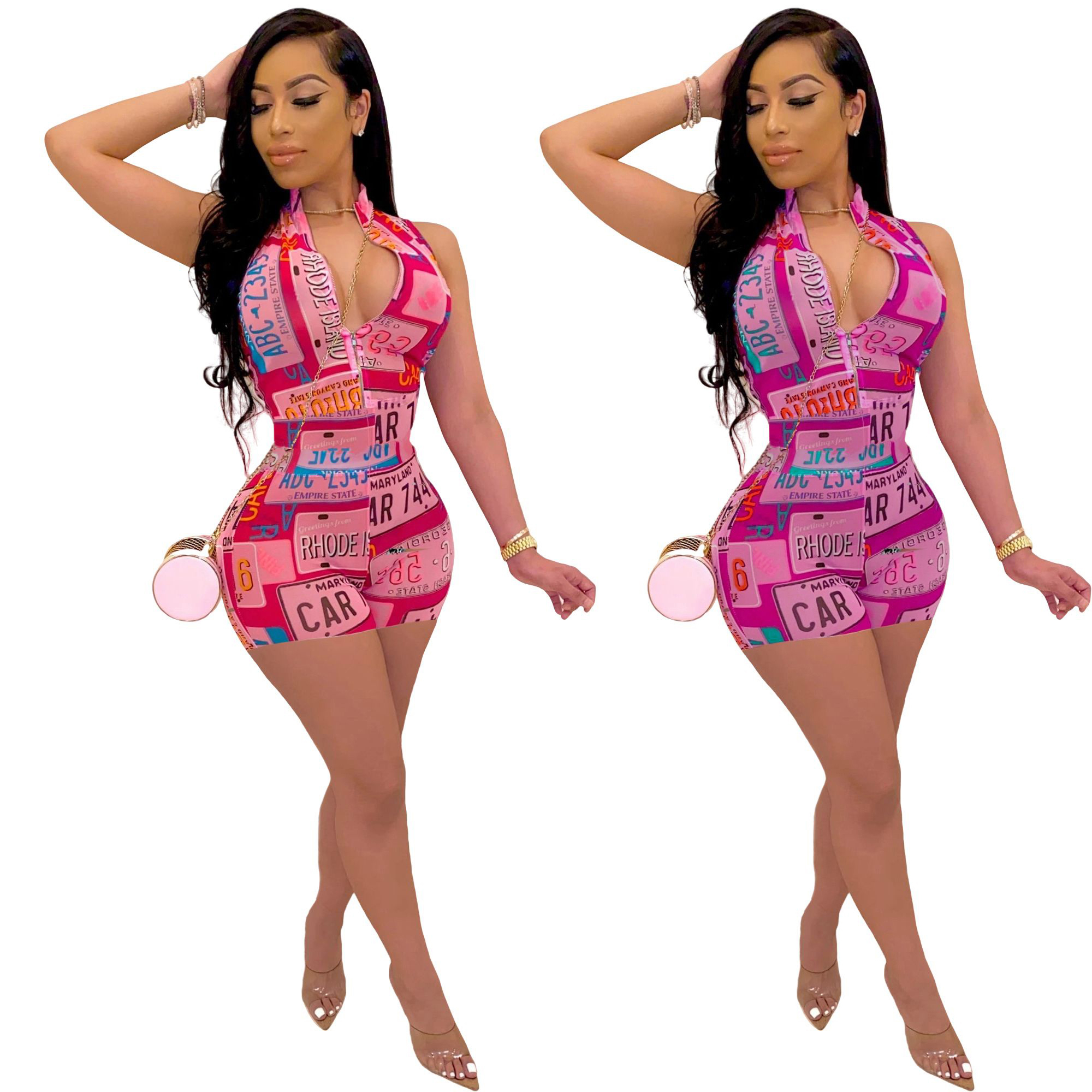 Zoctuo Sexy V-neck Playsuits Skinny Zipper Fitness