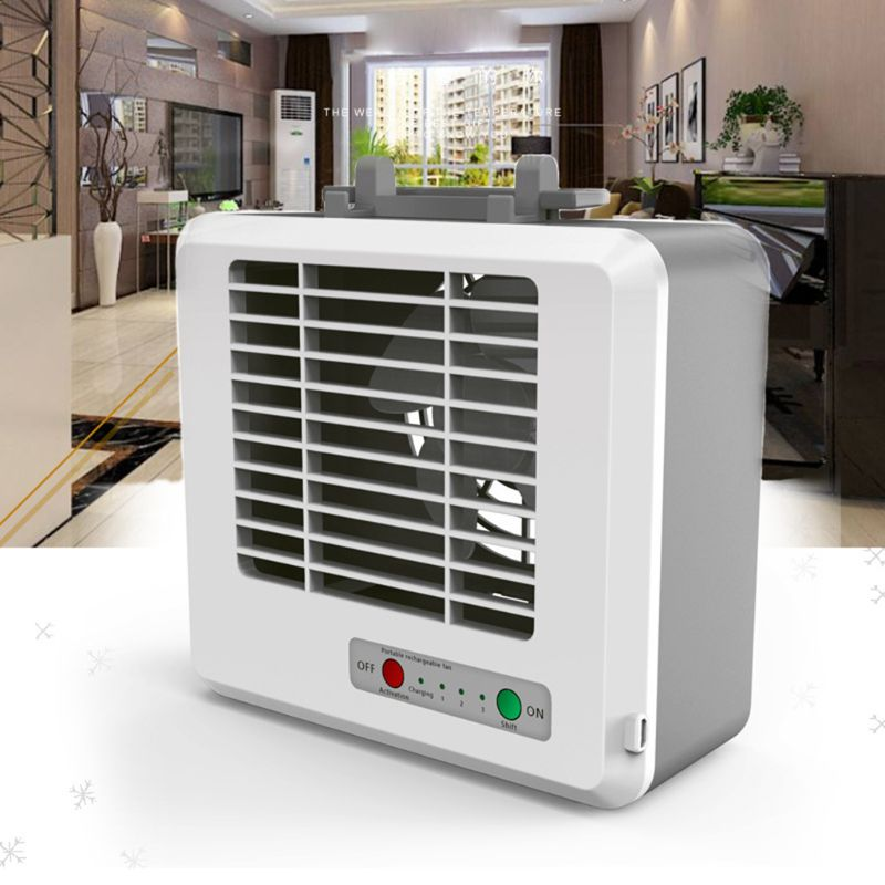 Mini Portable USB Air Conditioner Cooling Fan Desktop Space Cooler Personal Space Mute 2 Water Tank 3 Modes Phone Holder
