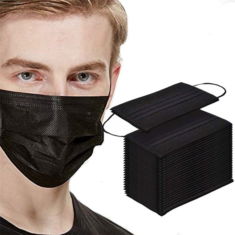 100PCS Anti Gas Dust Black Proteccion Masks Mascherine Mascara Anti-droplet Mascarillas De Disposable Adult Mouth Face Mask