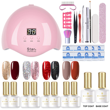 BORN PRETTY Nail UV Lamp Get Set Nail Dryer Nail Buffer Nail Color Soak Off Nail Gel Nail Cutter Nail Foils Nail Art Kit cheap Set Kit AJS164487 1 Kits Plastic As the picture shows