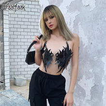 Waatfaak DELL'UNITÀ di elaborazione di Cuoio Sexy Tank Top Women Halter Irregolare Catena Punk Crop Top Delle Signore Dalla Fasciatura Backless Nero Cami Beachwear Gothic(China)