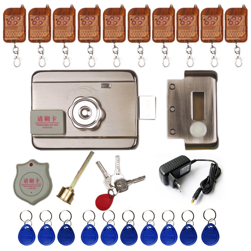 DC12V Electric Rim Lock For Metal Door Gate Electric Door Lock Opener 125KHZ RFID Card Lock Keyless Lock Electric Release