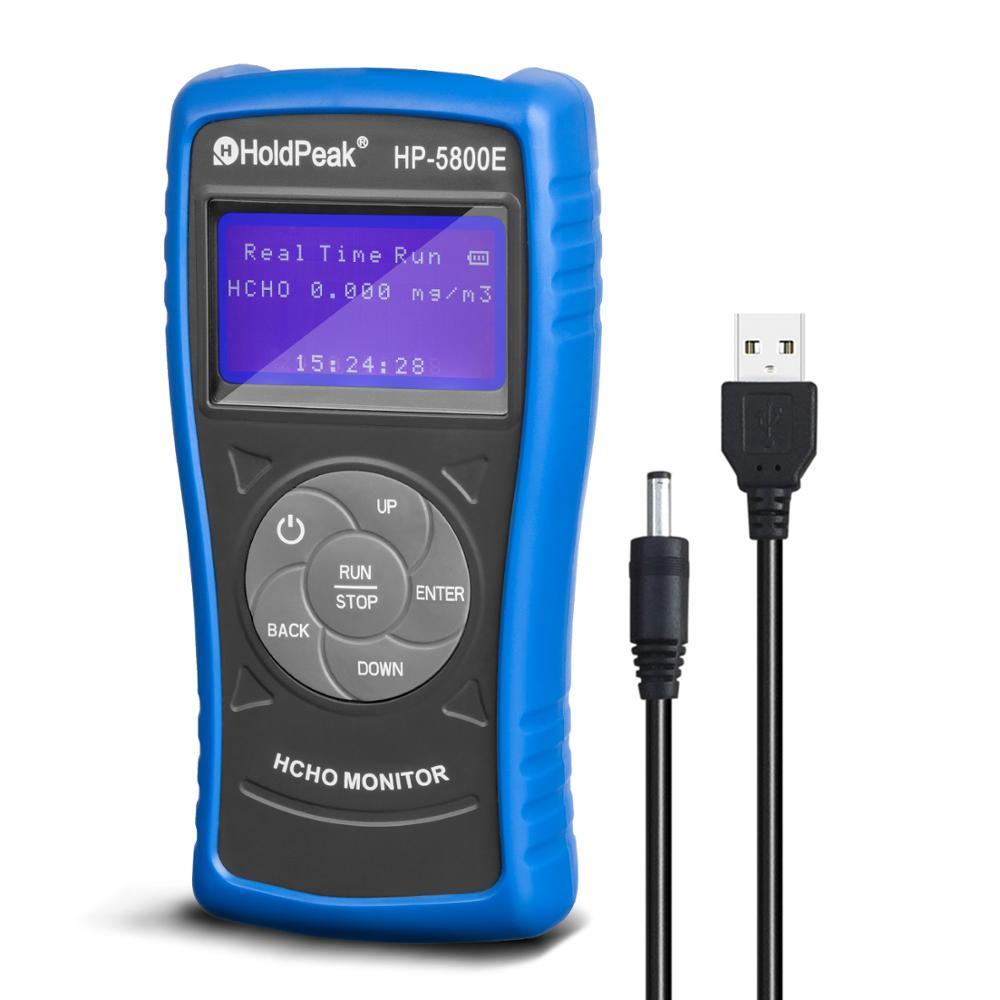 Detector de Monitor de formaldehído Holdpeak 5800E con luz de fondo y apagado automático para pruebas medioambientales en interiores y exteriores