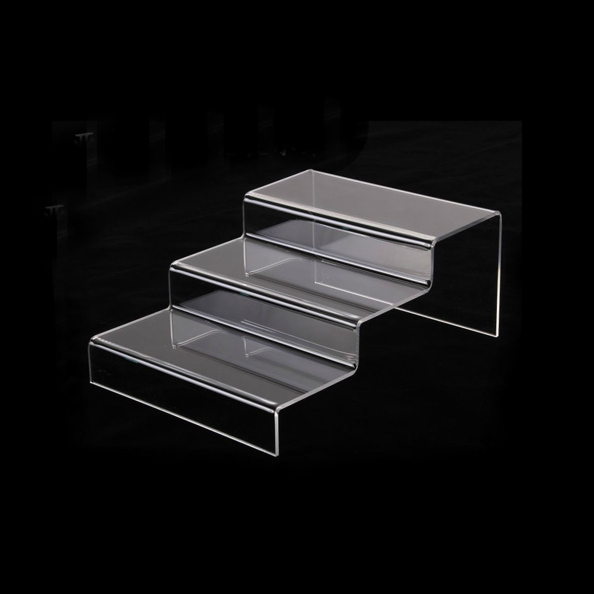 Acrylic Retail Riser Counter Shoes Jewellery Display Stands Plinth Jewelry Ladder Shelf Double Rack Organizers 3 Step Tier