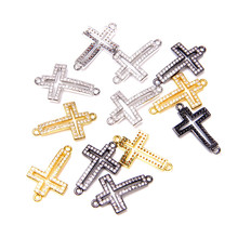 Wholesale 13*22mm Cross Connectors Metal Alloy Crystal Religion Cross Connectors Charms for DIY Jewelry Making Bracelet Necklace