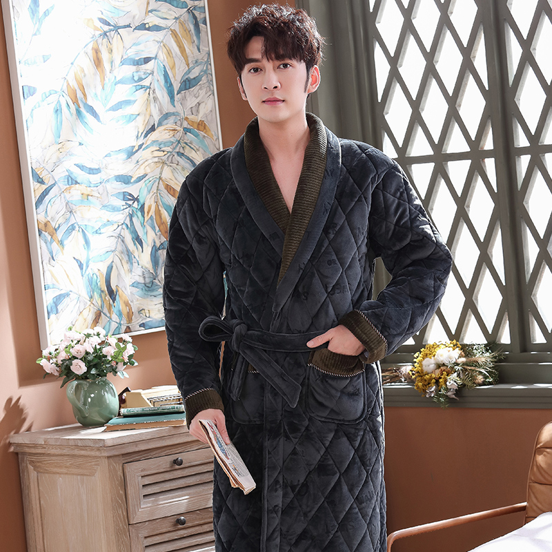 Men's Winter Letter Jacquard Bathrobe Home Clothes Long Sleeved Flannel Quilted Robe Coat Male Keep Warm Long Bath Robes XXXL