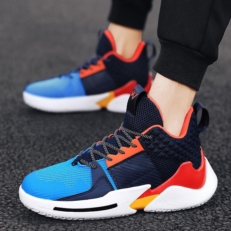 Купить с кэшбэком Large Size Light Athletic Shoes Men Online Celebrity Celebrity Style Running Shoes  Contrast Color Basketball Shoes