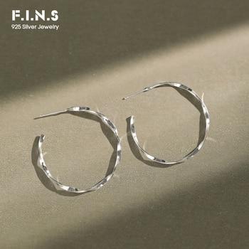 Pendientes de plata de ley 925 de estilo coreano F.I.N.S, pendientes de círculo retorcido de Mobius, pendientes de aro grandes de diseño sencillo para mujer para prevenir las alergias
