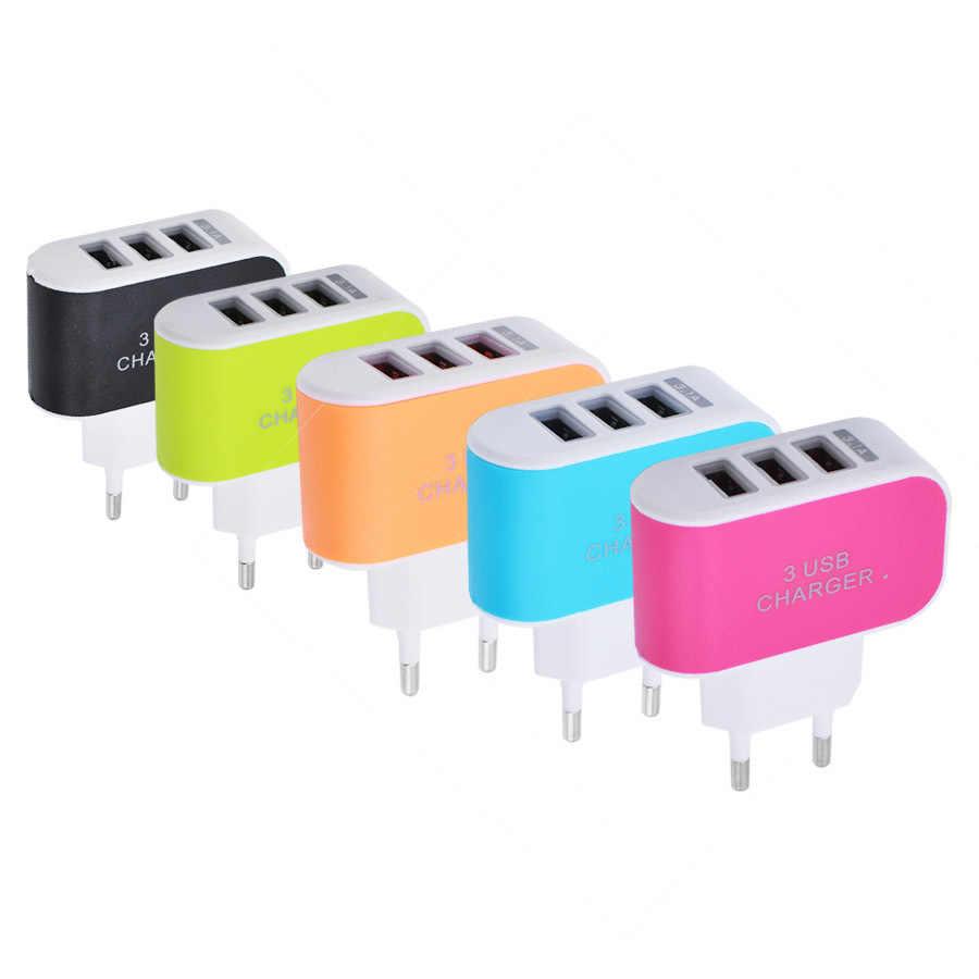 3 USB HUB Cổng 5V 2A Adapter Sạc Tiêu Chuẩn EU 100-Nguồn Điện 240V Đầu Cắm Cắm Sạc Ổ cắm Du Lịch Sạc cho Điện Thoại