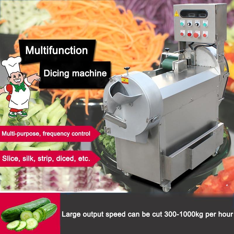 300-1000kg/h Commercial VVVF Automatic Vegetables Cutter Multifunction Cutting Machine Electric Vegetable Slicer 220v/380v 1.3KW