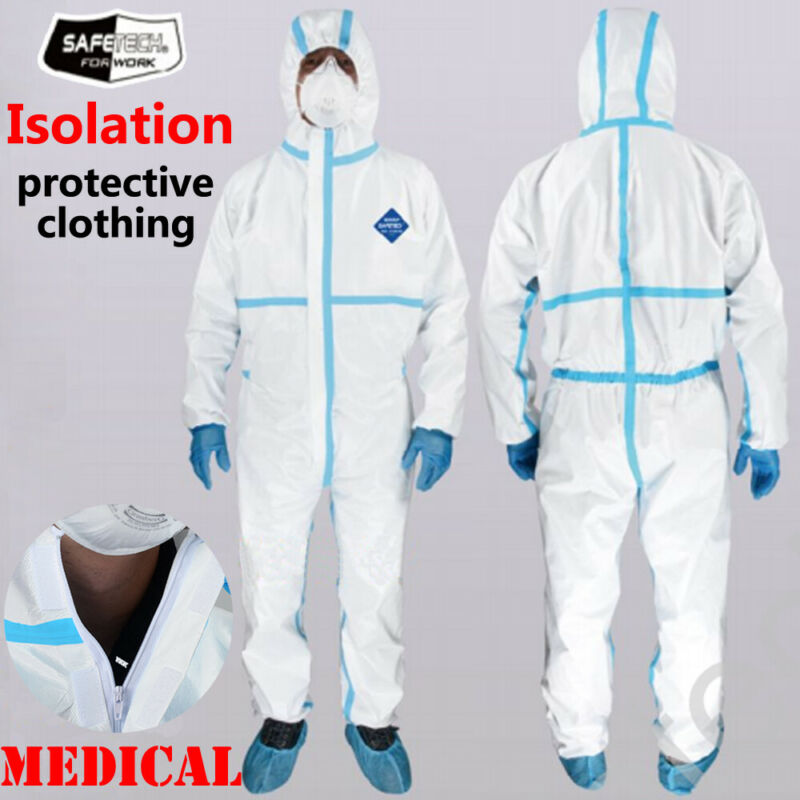2020 Newest Anti Virus Unisex Coveralls Medical Protective Suit Protective Clothing Safety Overalls Suit Full Protection White