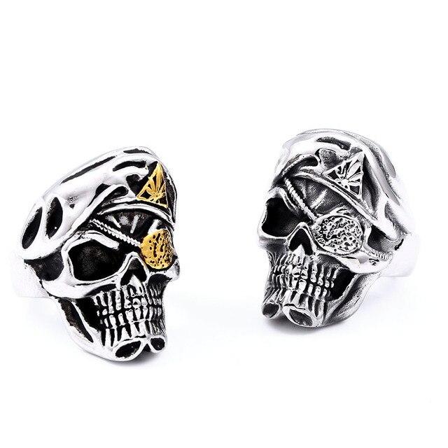 Acier soldat punk seigneur crâne en acier inoxydable anneau hommes punk unique mode titane acier bijoux