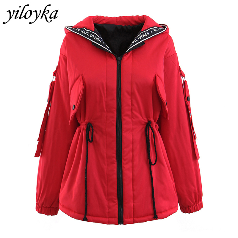 Letter Hooded Adjustable Waist   Parka   Women Jacket 2019 Casual Warm Fashion Padded Jacket Loose Woman Winter Coats and Jackets