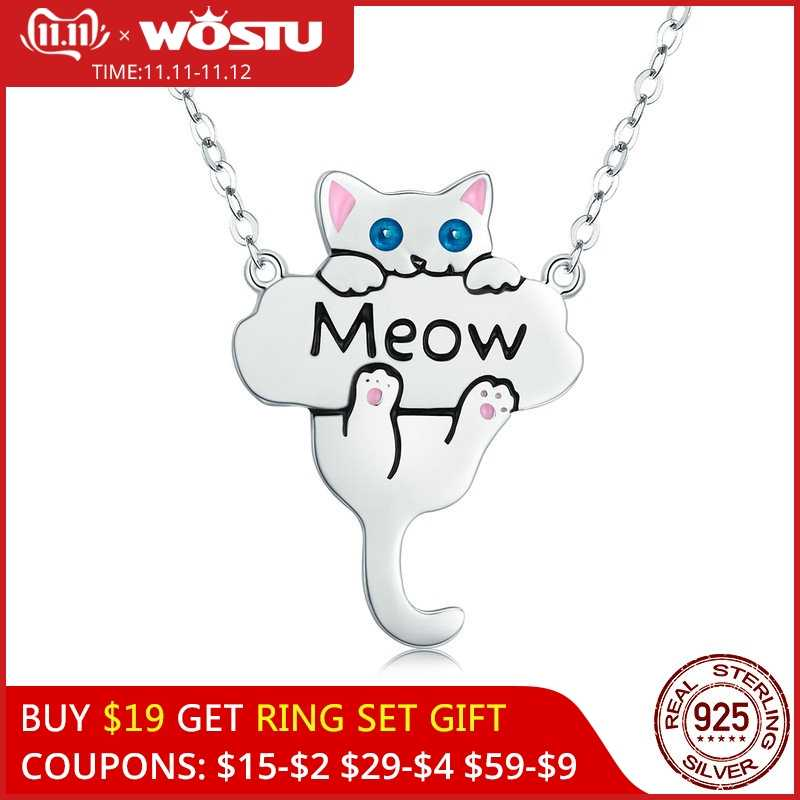 WOSTU High Quality 925 Sterling Silver Cute Cat Pet Meow Pendant Necklace For Women Fashion Jewelry Gift For Girlfriend CQN210