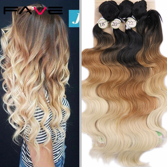 FAVE Body Wave Hair 3 Bundles With Closure Synthetic 4Pcs Lot Black Blue/Purple /Green/Blonde/Grey For Black Women daily Cosplay