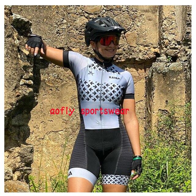 2020 xama pro feminino triathlon skinsuit bicicleta ciclismo conjuntos de jérsei macaquinho feminino roupas de bicicleta macacão gel almofada conjunto feminino ciclismo macaquinho ciclismo feminino  roupas com frete 6