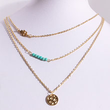 Bobemian estilo multi layerd vintage funky frisado moeda pingente corrente para presente feminino na moda charme colar