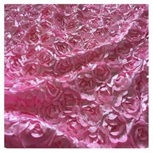 SASKIA 1Yard 3D Satin Rose Flower Embroidery Fabric Material Textile For Sewing Pillow Cloth Wedding Decorate Pink Red diy