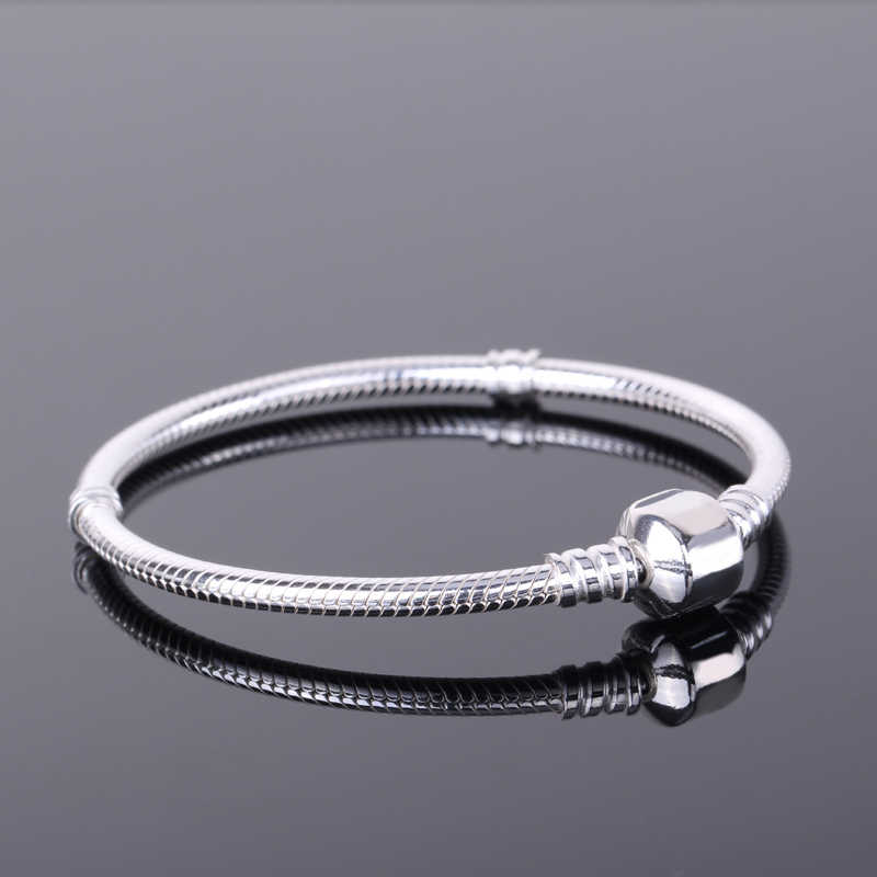 Gratis Verzonden Certificaat Vrouwen Diy Kralen Charms Armband Originele 925 Zilver 3 Mm Snake Chain Armband Met S925 Test ESL925