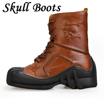 Men Genuine Leather doc martens Motorcycle Boots First Layer Leather Military Combat Boots Gothic Skull Punk Steam Boots Winter vivodsicco new genuine patent leather men mid calf boot punk military combat men s leather desert biker motorcycle rock boots