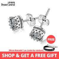 DreamCarnival 1989 Beliebte Crown Stil Stud Ohrringe für Frauen Hohe Qualität Klar, Weiß Zirkon Stein Luxus Täglichen Tragen SE07488RB