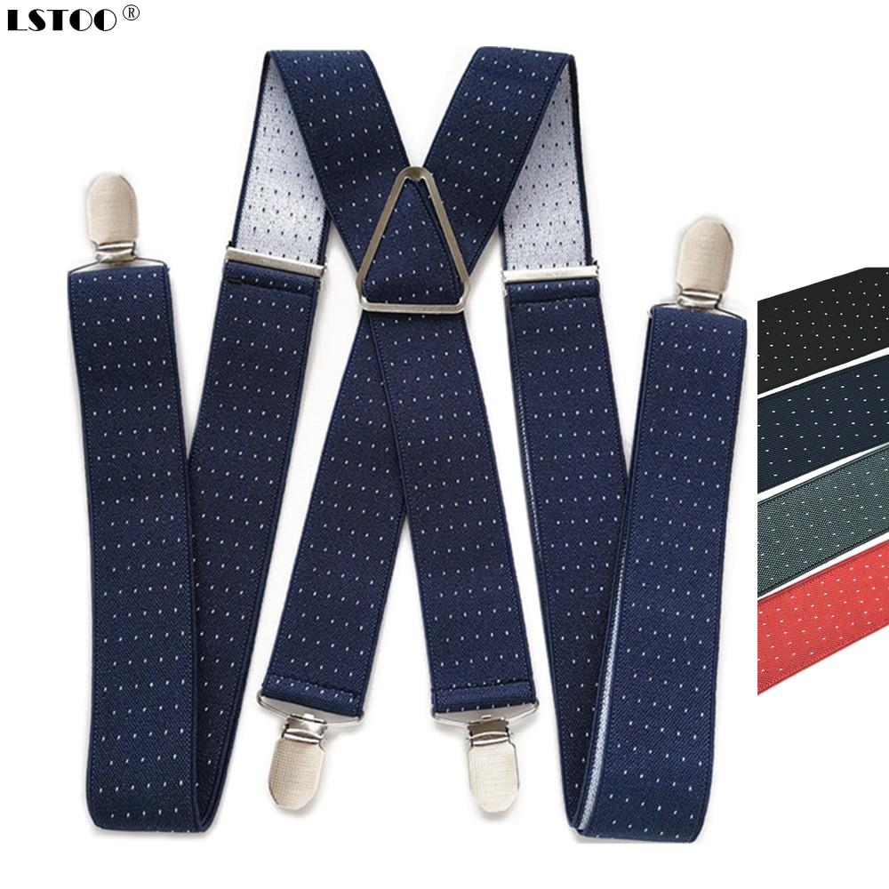 3.5CM Width Dot Printed Men's Suspenders High Quality 4 Clips Suspensorios Adjustable Elastic Braces Plus Size Women Party Wear
