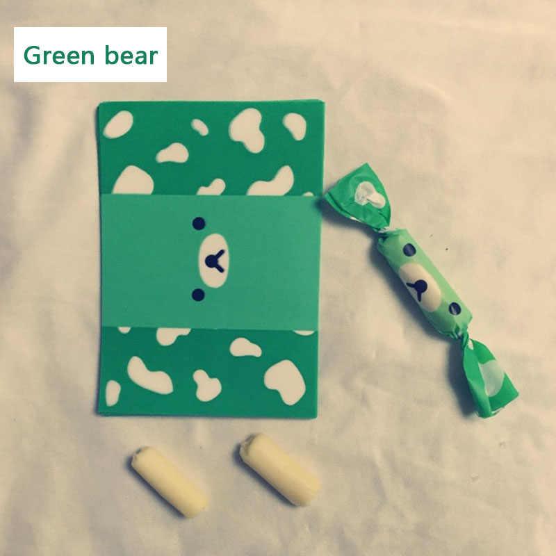 200 יח'\חבילה עטיפת ממתק קריקטורה ירוק דוב דפוס תוצרת בית DIY אריזת סוכריות המפלגה מתפתל שעוות נייר ממתקי שמן חבילת נייר