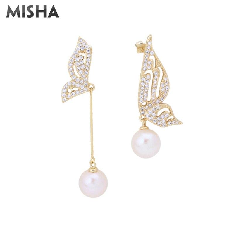 MISHA boucle d'oreille à la mode pour les femmes à la main Simulation gemmes perle papillon conception boucle d'oreille haute qualité accessoires 02346