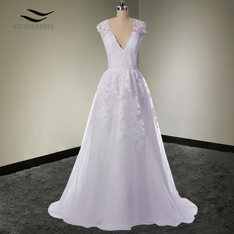 Sexy V Neck Vestido De Noiva Elegant Tulle Beach Wedding Dresses 2018 Lace Bridal Gown Appliques Vintage Sleeveless Lace SLW594