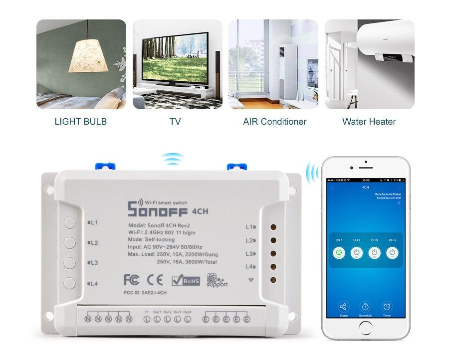 4CH R2 4 Channel 10A 2200W 2.4Ghz Smart Home WIFI Wireless Switch APP Remote Control AC 90V-250V 50/60Hz Home Automation Module