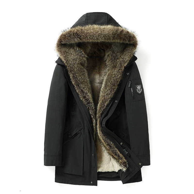 Real Fur Coat Winter Jacket Men Natural Rabbit Fur Liner Parka Mens Raccoon Fur Collar Warm Parkas Fashion Jackets 18037 YY348