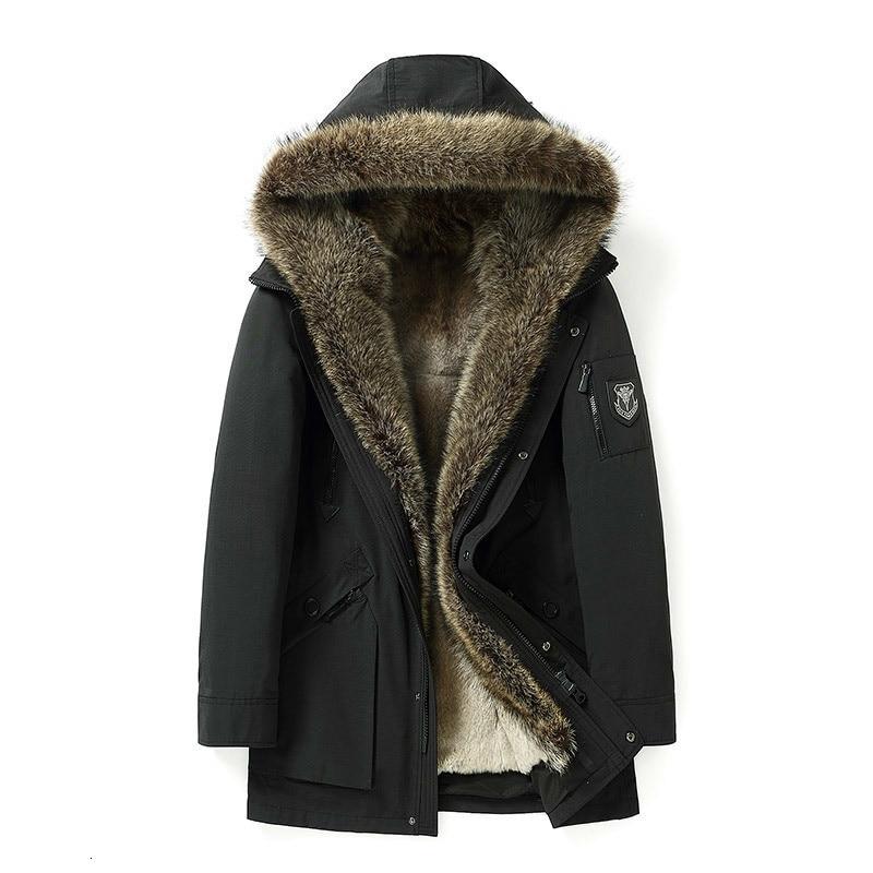 Real Fur Coat Winter Jacket Men Natural Rabbit Fur Liner Parka Mens Raccoon Fur Collar Warm Parkas Fashion Jackets 18037 YY348