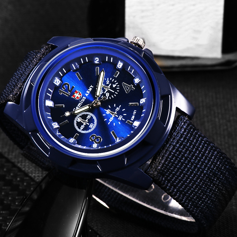 Men Non-Mechanical Hollow Out Quartz Watch Comfortable Outdoor 2019 Fashion Canvas Strap Pin Buckle Watches