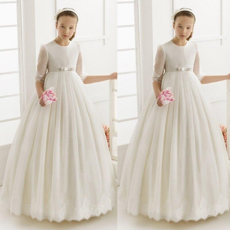 Flower Girl Dresses For Weddings Elegant First Communion Dresses For Girls Tulle Ball Gown Half Sleeve Girls Pageant Gown