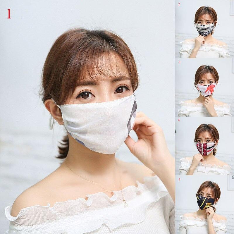 Women's Thin Sunscreen Flower Print Hanging Ears Masks Chiffon Lady Masks Bacteria Proof Anti-pollution Windproof Anti-Dust