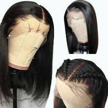 PAFF 13*6 Transparent Lace Front Human Hair Wigs Deep Part Short bob Cut Natural Color Pre Plucked Brazilian Remy