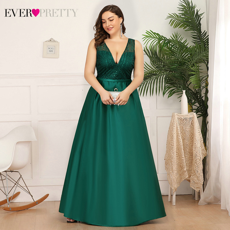 Plus Size Satin Evening Dresses Long Ever Pretty A-Line Double V-Neck Sequined Sexy Sparkle Formal Party Gowns Vestido Longo