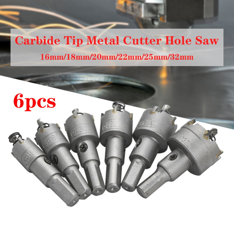 6Pcs/Set 16-32mm Steel Tungsten Carbide Tipped TCT Core Drill Bit Hole Saw Cutter Set Hole Saw Alloy Cutter Wood Metal Drilling