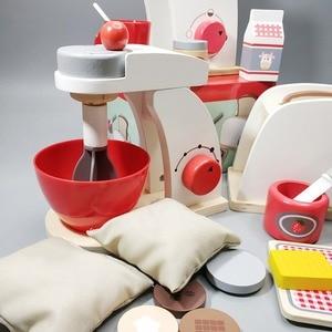Image 3 - Dzieci drewniane udawaj zagraj zestawy symulacja tostery maszyna do chleba ekspres do kawy Blender zestaw do pieczenia gra mikser kuchnia rola zabawka