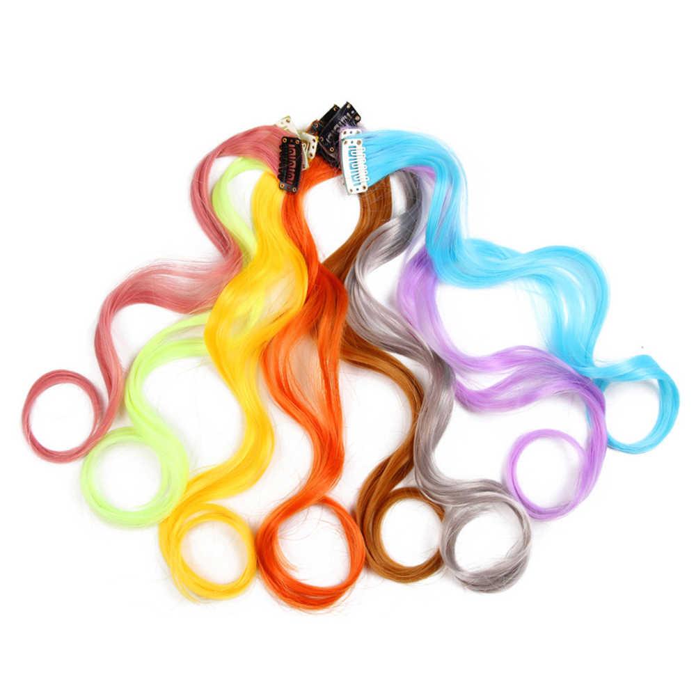 Regenbogen Welliges Haar Extensions Lange Haarverlängerungen Einem Einzelnen Clip In Perücken Bunte Synthetische Faser Falsche Gefälschte Haar