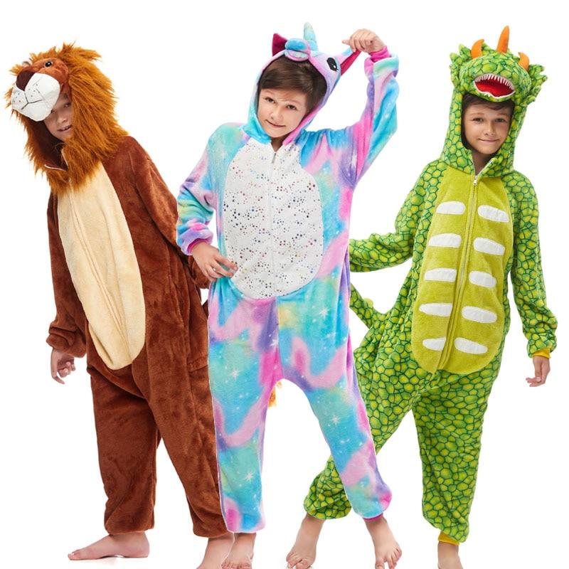 NEW Kids Hooded Animal Dinosaur Unicorn Pajamas Christmas Clothes Children Soft Dog Stitch Cosplay Girls Boys Sleepwear Winter