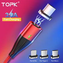 TOPK 1M 3A Magnetic Cable Fast Charging Type C For iPhone Charger Data Charge Micro USB Quick 3.0