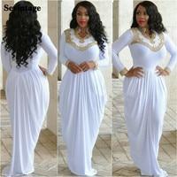Sevintage Soft Satin Muslim Evening Dresses Elastic Dubai Caftan Long Sleeves Prom Gowns Gold Beaded Crystal Arabic Party Dress