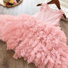 Flower Embroidery Mesh Dresses for Girls Toddler Girls Princess Summer Party Floral Prom Gown Kids Dresses for Girls Size 3 5 8T cheap JXDHN Polyester Viscose Voile CN(Origin) Knee-Length O-neck Regular Sleeveless Cute Fits true to size take your normal size