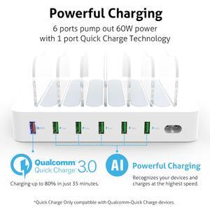 Image 3 - Soopii Charge rapide 3.0 60W/12A Station de recharge USB 6 ports pour plusieurs appareils, Station daccueil avec 8 câbles pour Iphone inclus