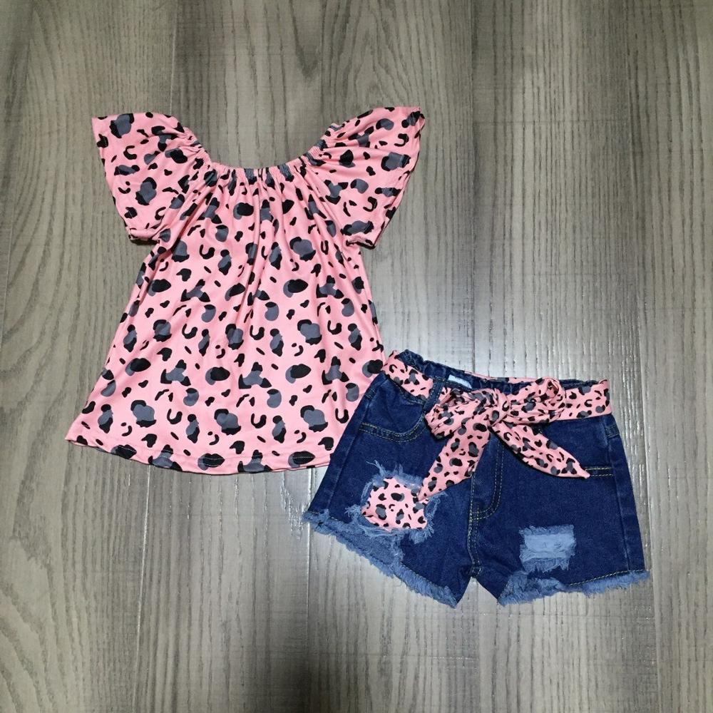 Baby Girls Spring Outfits Girl Leopard Pink Raglans With Belt Jeans Baby Children Summer Clothing