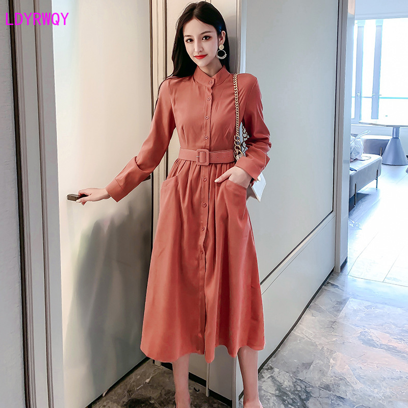 2019 autumn new Korean fashion ladies temperament lapel single breasted long slim shirt dress Empire Sashes Solid Full in Dresses from Women 39 s Clothing