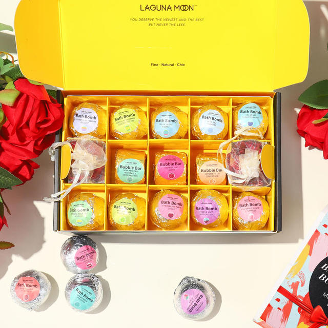 LAGUNAMOON 28Pcs Fresh Scent Multi-Flavor Bath Bombs Gift Set Bubble Bars Salt Ball Mood Enhancer Skin Moisturize 4
