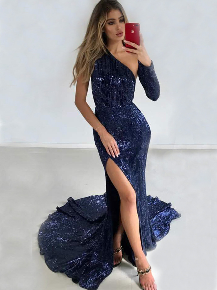 One Shoulder Long Dress Top Quality Sexy Women Night CLub Fashion Evening Party Dresses