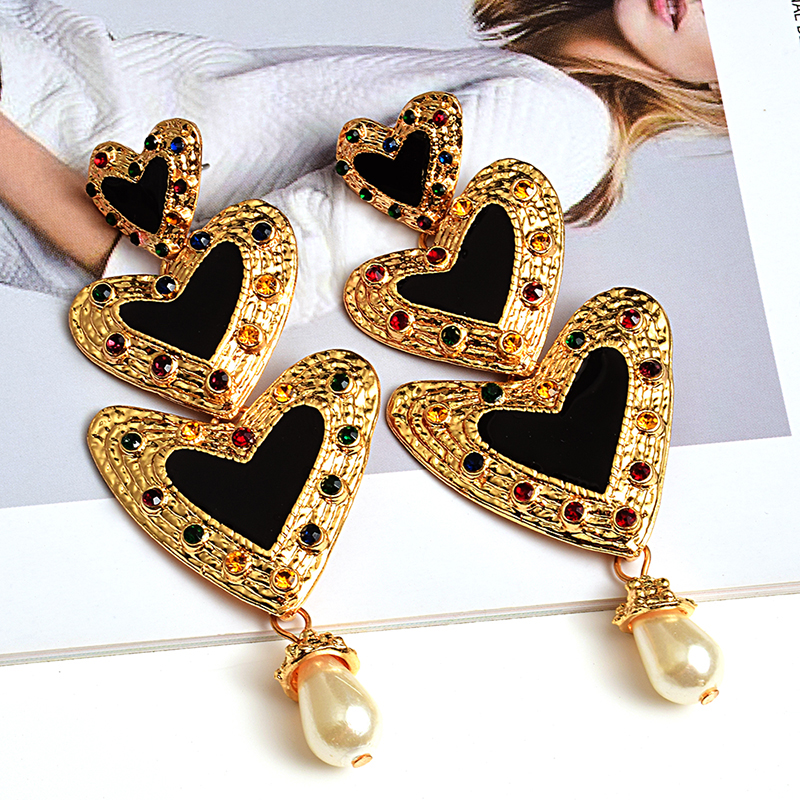 Metal LoveHeart Long Earrings High-quality Crystal Drop Earring Fashion Jewelry Accessories For Women